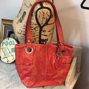Fabulous Fossil Keeper Shoulder Bag Red Leather!